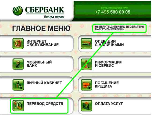 Комиссия при переводе через банкомат Сбербанка