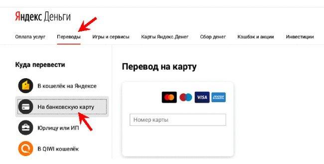 Перевод через сайт Яндекс Кошелек