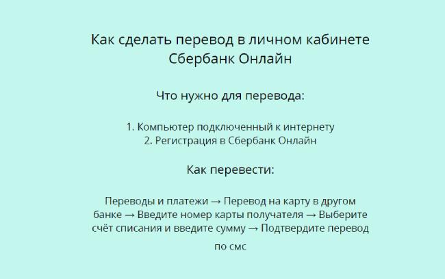 Перевод в личном кабинете Сбербанк Онлайн